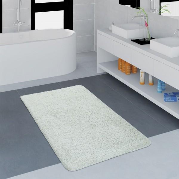 Moderner Badezimmer Teppich Einfarbig Microfaser Kuschelig Gemütlich In Weiß
