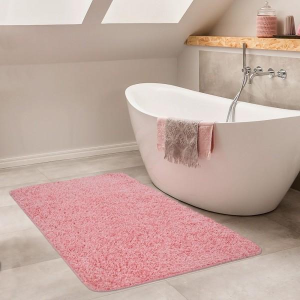 Moderner Badezimmer Teppich Einfarbig Hochflor Badteppich Rutschfest In Pink