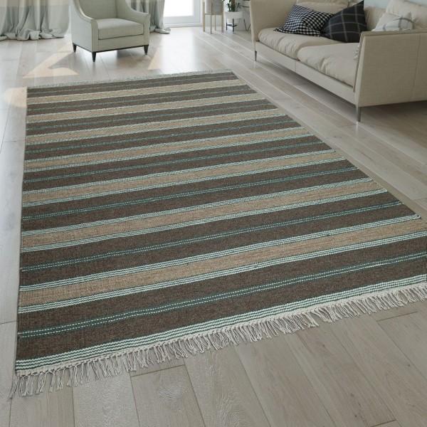 Natur Teppich Wolle Modern Handgewebt Gestreift Kelim Design Fransen Braun Beige