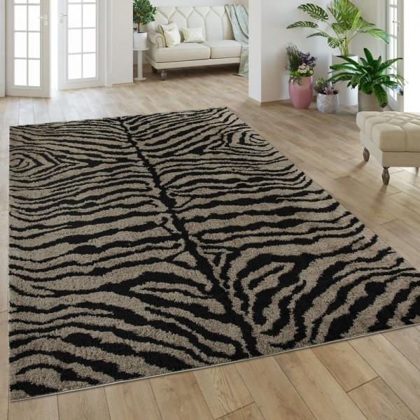 Hochflorteppich Zebra Muster Braun Schwarz