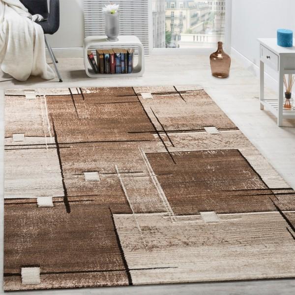 Designer Teppich Konturenschnitt Abstrakt Karo Linien Braun Beige Meliert