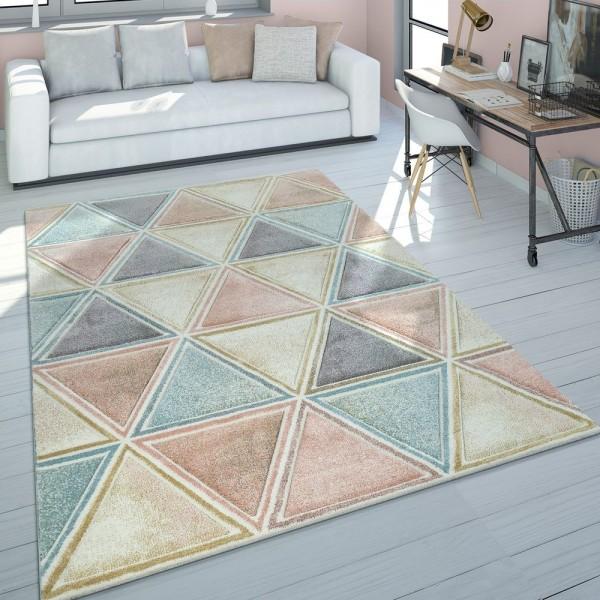 Wohnzimmer Teppich Bunt Kurzflor Pastellfarben Used Look Rauten Design Dreieck