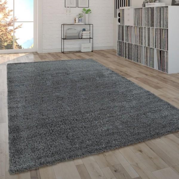 Hochflor-Teppich Im Shaggy-Style, Moderner Wohnzimmer-Teppich In Grau