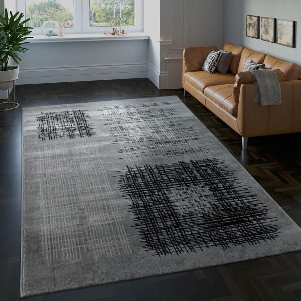 Edler Designer Wohnzimmer Teppich Kurzflor Farbverlauf Karo Muster Grau