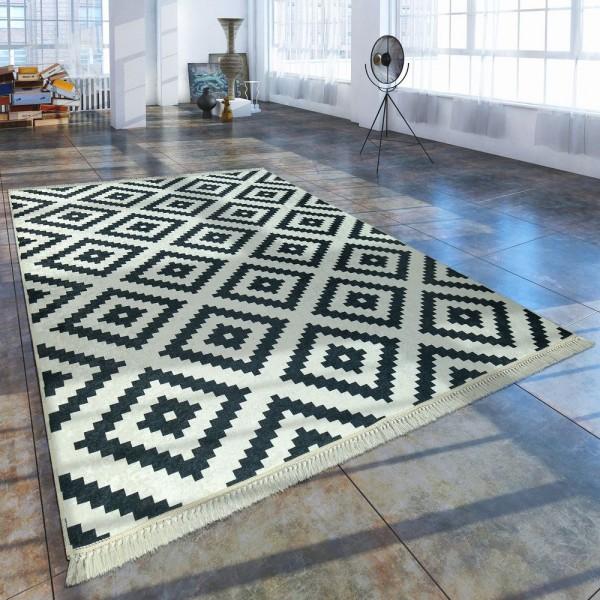 Moderner Teppich Mit Bedrucktem Trend Rauten Muster Skandi Look Schwarz Weiß