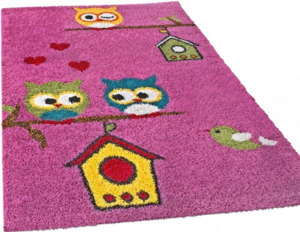 Kinderzimmer Shaggy Teppich Motiv Bunte Eulen Kinder Teppich Hochflor in Pink