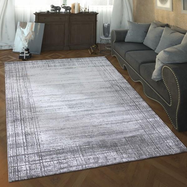 Designer Wohnzimmer Teppich Hoch Tief Struktur Modern Vintage Look In Grau