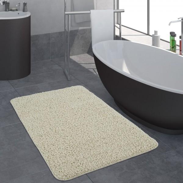 Moderner Badezimmer Teppich Einfarbig Hochflor Badteppich Rutschfest In Creme