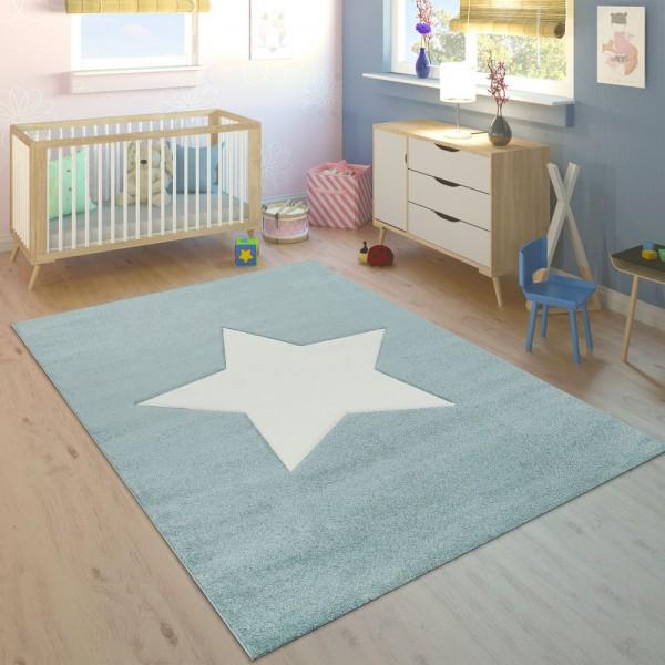 Kinderteppich Kinderzimmer Jungen Modern Großer Stern In Pastell Blau Weiß