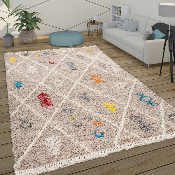 Deep-Pile Rug Living Room Shaggy Scandi Pattern