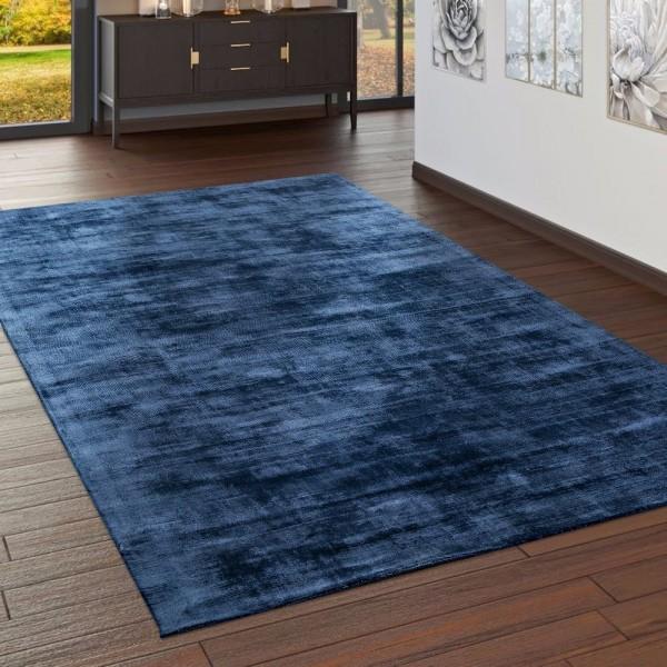 Teppich Handgefertigt Hochwertig 100 % Viskose Vintage Trend Farbe Dunkel Blau