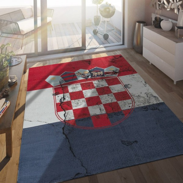 In- & Outdoor Terrassen Teppich Kroatische Flagge Moderne Beton Optik