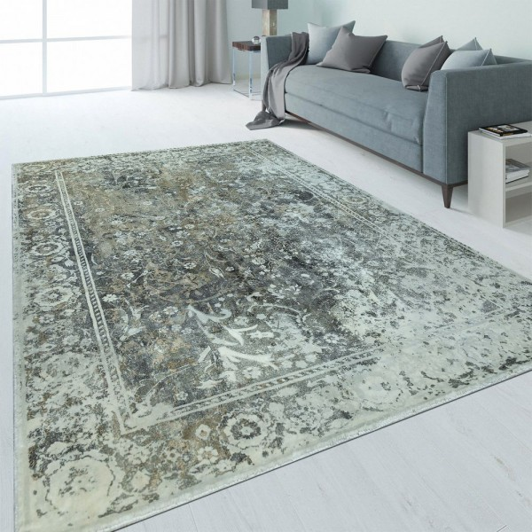Design Teppich Bordüre Used-Look Anthrazit