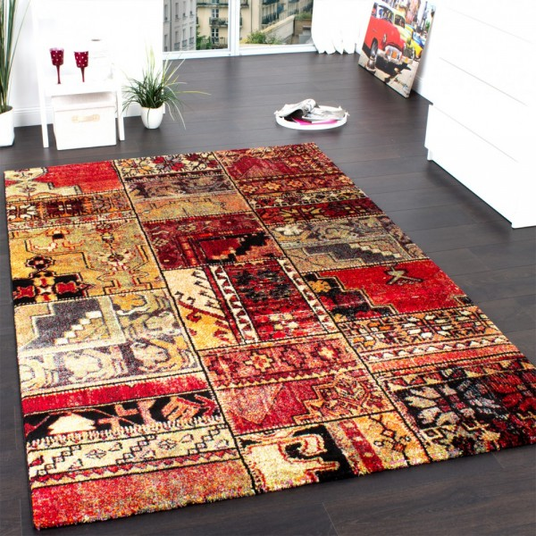 Teppich Modern Designer Teppich Patchwork Kilim Design Multicolour Grün Rot Blau