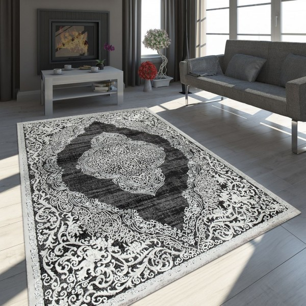 Orient Teppich Modern 3D Effekt Meliert Schimmernd Ornamente In Schwarz Weiß