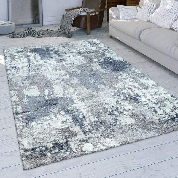 Wohnzimmer-Teppich, Kurzflor Mit Modernem Used-Look In Grau Blau Weiß
