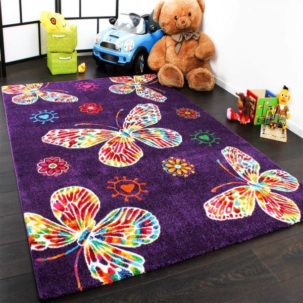 Moderner Kinder Teppich Butterfly Schmetterling Design in Lila Top Qualität