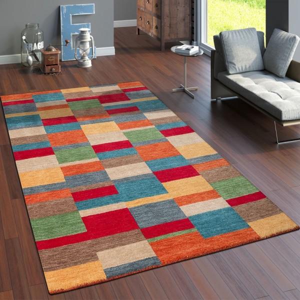 Teppich Handgewebt Gabbeh Hochwertig 100% Wolle Meliert Kariert Multicolor