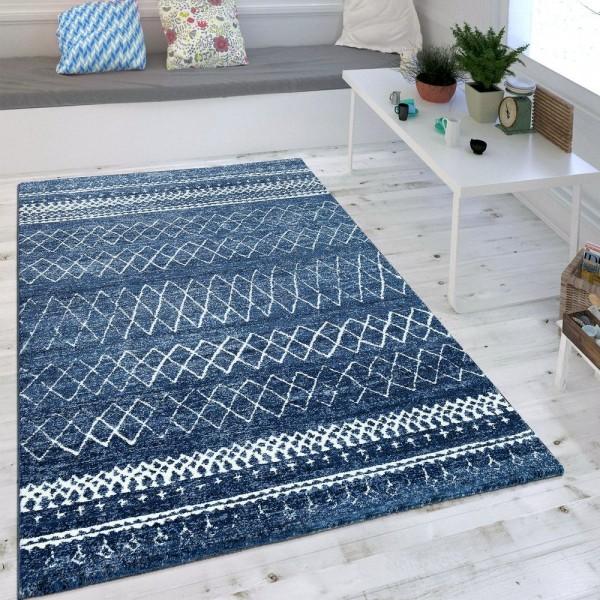 Wohnzimmer Teppich Indigo Blau Trend Modernes Skandinavisches Muster