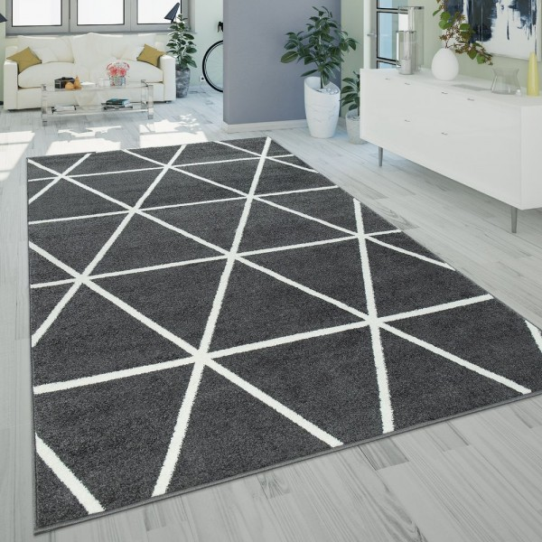 Ethno Teppich Wohnzimmer Grau Anthrazit Rauten Muster Strapazierfähig Kurzflor