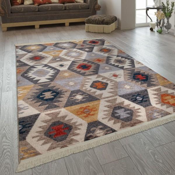 Wohnzimmer-Teppich Im Ethno-Design, Fransen, Boho-Stil, Rauten-Muster In Bunt
