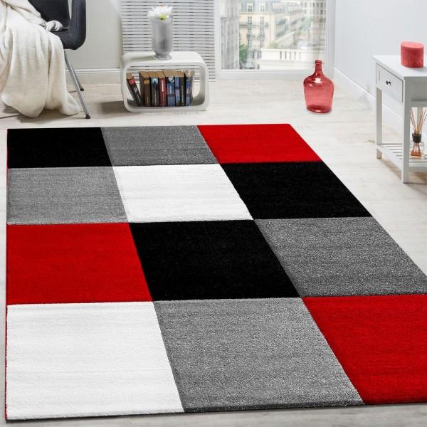 Teppich Modern Wohnzimmer Kurzflor Karo Design Rot Schwarz Grau AUSVERKAUF
