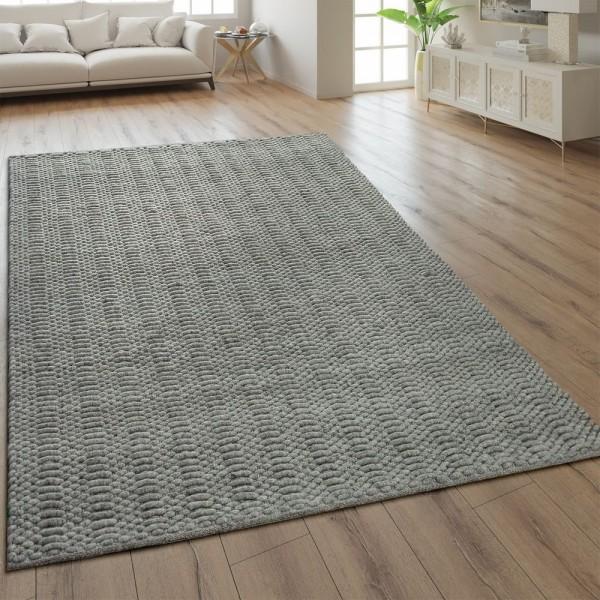 Teppich Webmuster Handgefertigt Einfarbig Silber