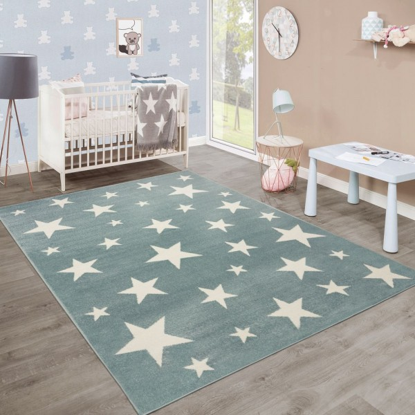 Moderner Kurzflor Kinderteppich Sternendesign Kinderzimmer Pastell Türkis Weiß