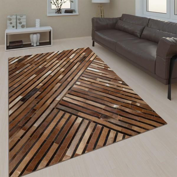 Wohnzimmer Teppich Leder Wolle Modern Muster Streifen In Braun Grau Schwarz