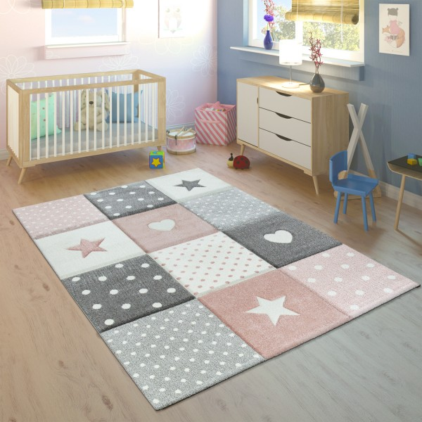 Children's Rug Check Hearts Stars