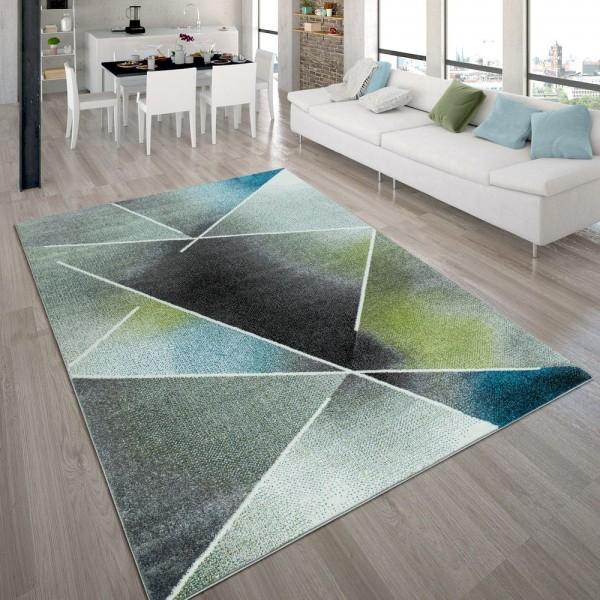 Designer-Teppich, Kurzflor-Teppich Mit Dreieck-Muster Und Farbverlauf, In Bunt
