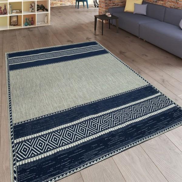 Moderner Flachgewebe Wendeteppich Minimalistisches Design Blau