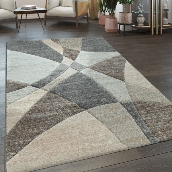 Kurzflor Wohnzimmer Teppich Modern Geometrisches Muster In Pastell Blau