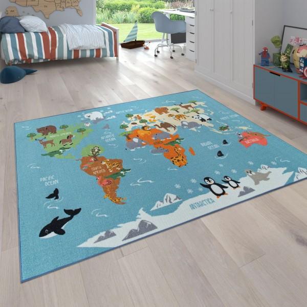Kinder-Teppich, Spiel-Teppich Für Kinderzimmer, Weltkarte Mit Tieren, In Grün