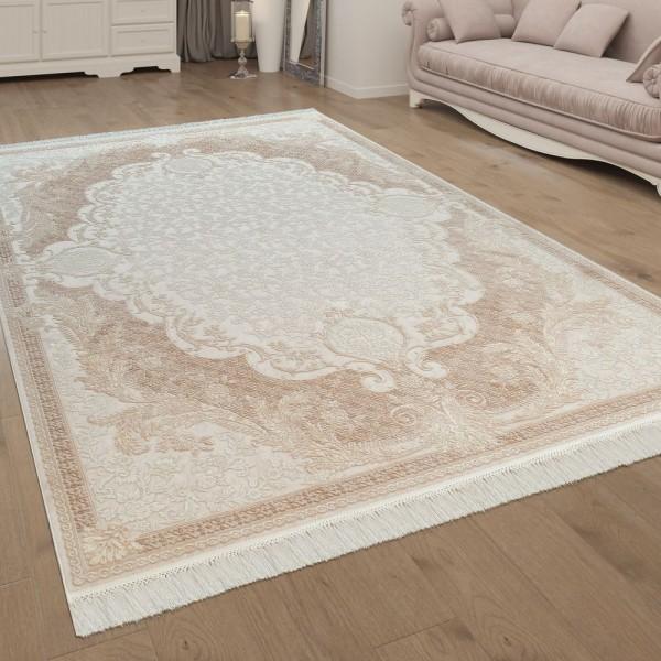 Wohnzimmer-Teppich, Kurzflor Mit Fransen, Bordüre Und Ornamenten In Beige Weiß