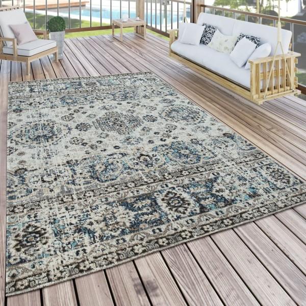 In- & Outdoor Teppich Modern Orient Design Terrassen Teppich Wetterfest Grau