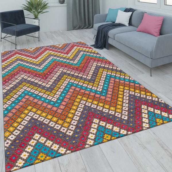 Wohnzimmer-Teppich, Kurzflor Mit Zickzack-Muster, In bunten Pastellfarben