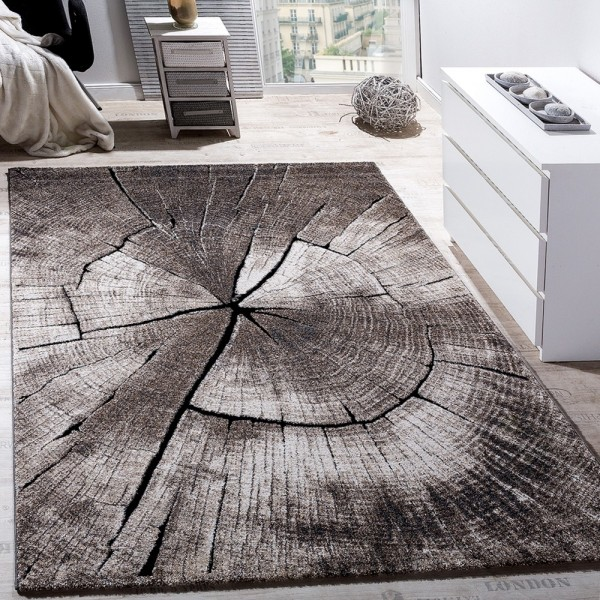 Edler Designer Teppich Wohnzimmer Holzstamm Baum Optik Natur Grau Braun Beige