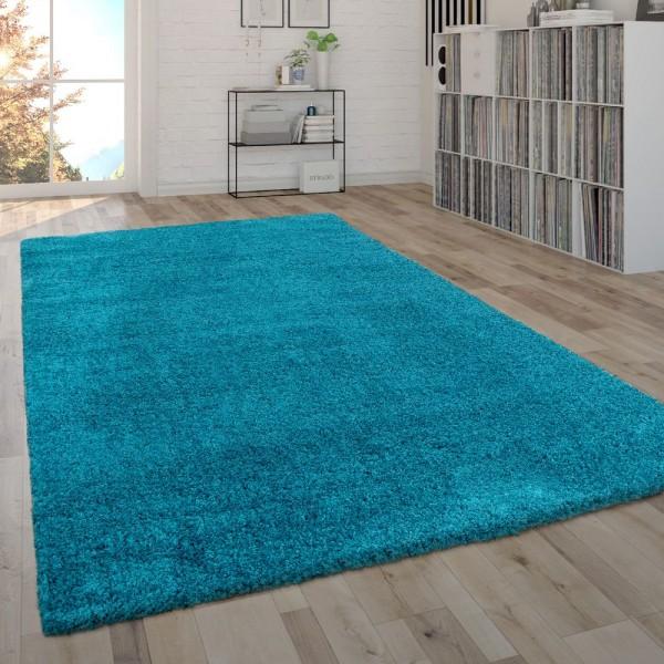 Hochflor-Teppich Im Shaggy-Style, Moderner Wohnzimmer-Teppich In Türkis