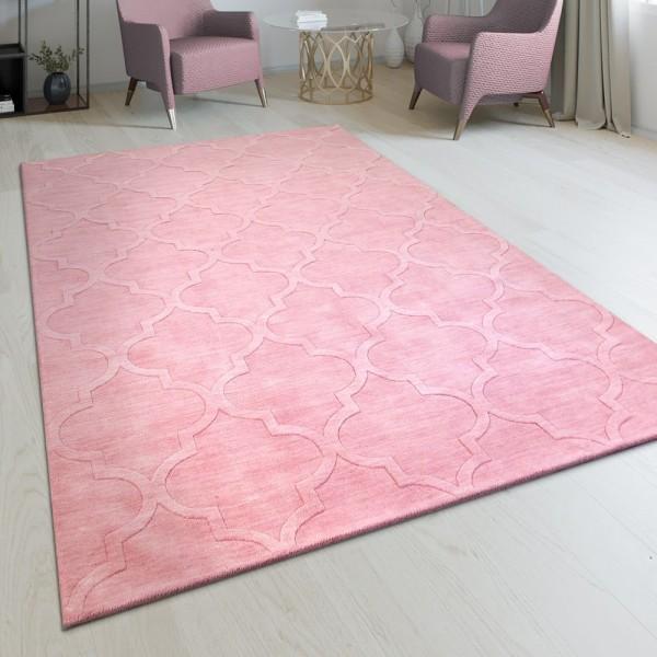 Handgefertigter Wohnzimmer Teppich Marokkanisches Design Orient Pastell Rosa