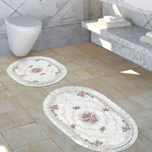 Badezimmer Teppich Set Florale Ornamente Waschbar Gemütlich Badvorleger Altrosa