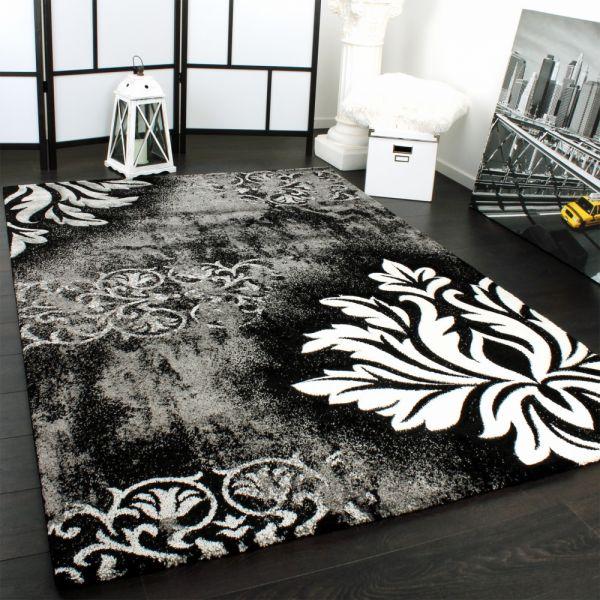 Designer Teppich Modern Handgearbeiteter Konturenschnitt in Grau Weiss Schwarz