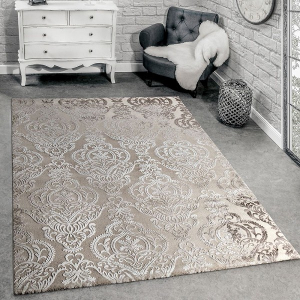 Designer Teppich Moderne Orient Muster 3D Wohnzimmerteppich Beige Creme