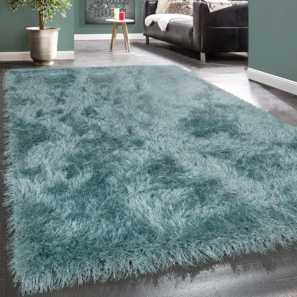 Moderner Wohnzimmer Shaggy Hochflor Teppich Soft Garn In Uni Pastell Türkis