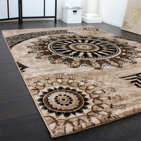 Carpet With Pattern Circle Ornaments In Grey And Black