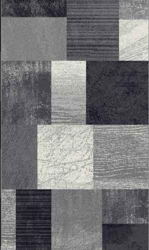 Designer Teppich Konturenschnitt Abstrakt Kariert Grau Schwarz Meliert
