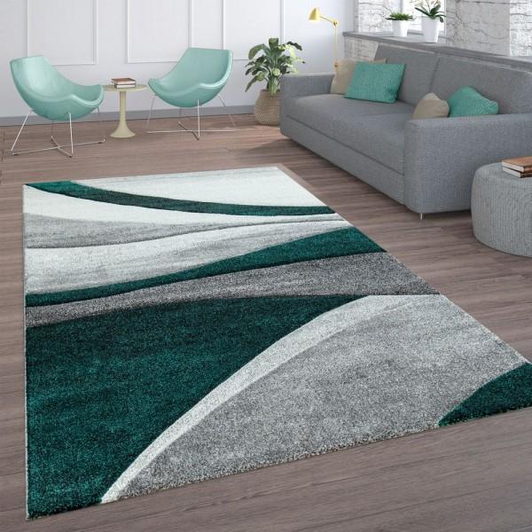 Wohnzimmer-Teppich, Kurzflor Mit Wellen-Muster, In Dunkelgrau Hellgrau Grün