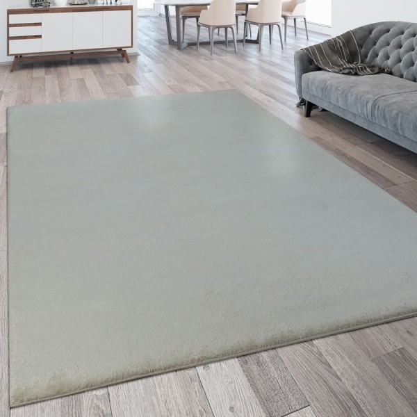 Wohnzimmer-Teppich, Einfarbig, Waschbarer Kurzflor-Teppich In Beige Creme