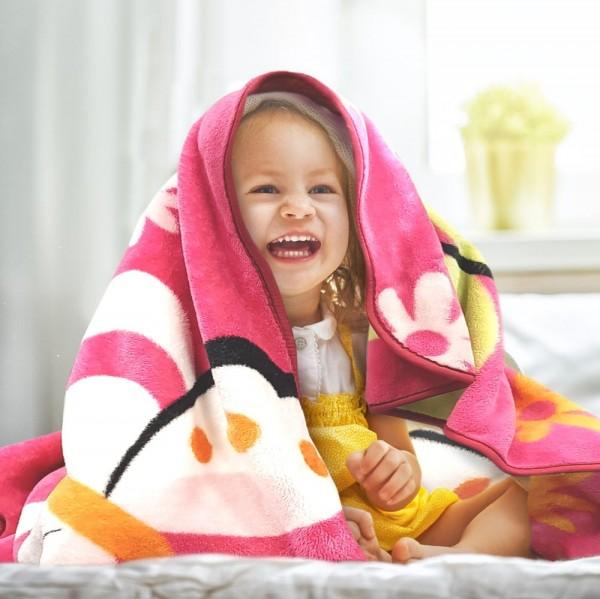 Decke Kinderdecken Schmetterlinge Pink Fuchsia Butterfly Bunt Kuscheldecke Spieldecke