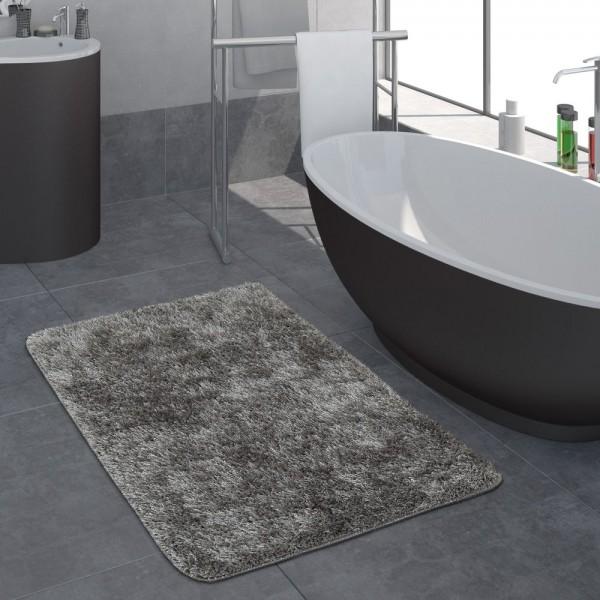 Moderner Hochflor Badezimmer Teppich Einfarbig Badematte Rutschfest In Grau